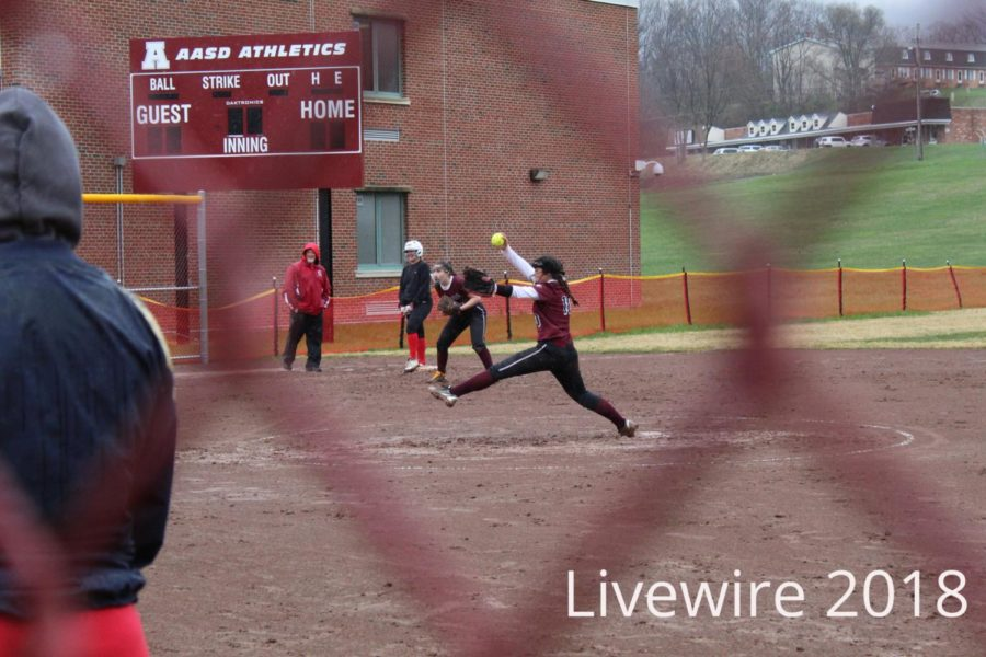 Whoosh.+Hannah+Riley+pitches+the+ball+at+the+girls+softball+game+on+April+24.+Riley+pitched+the+ball+and+then+got+a+chance+to+bat.
