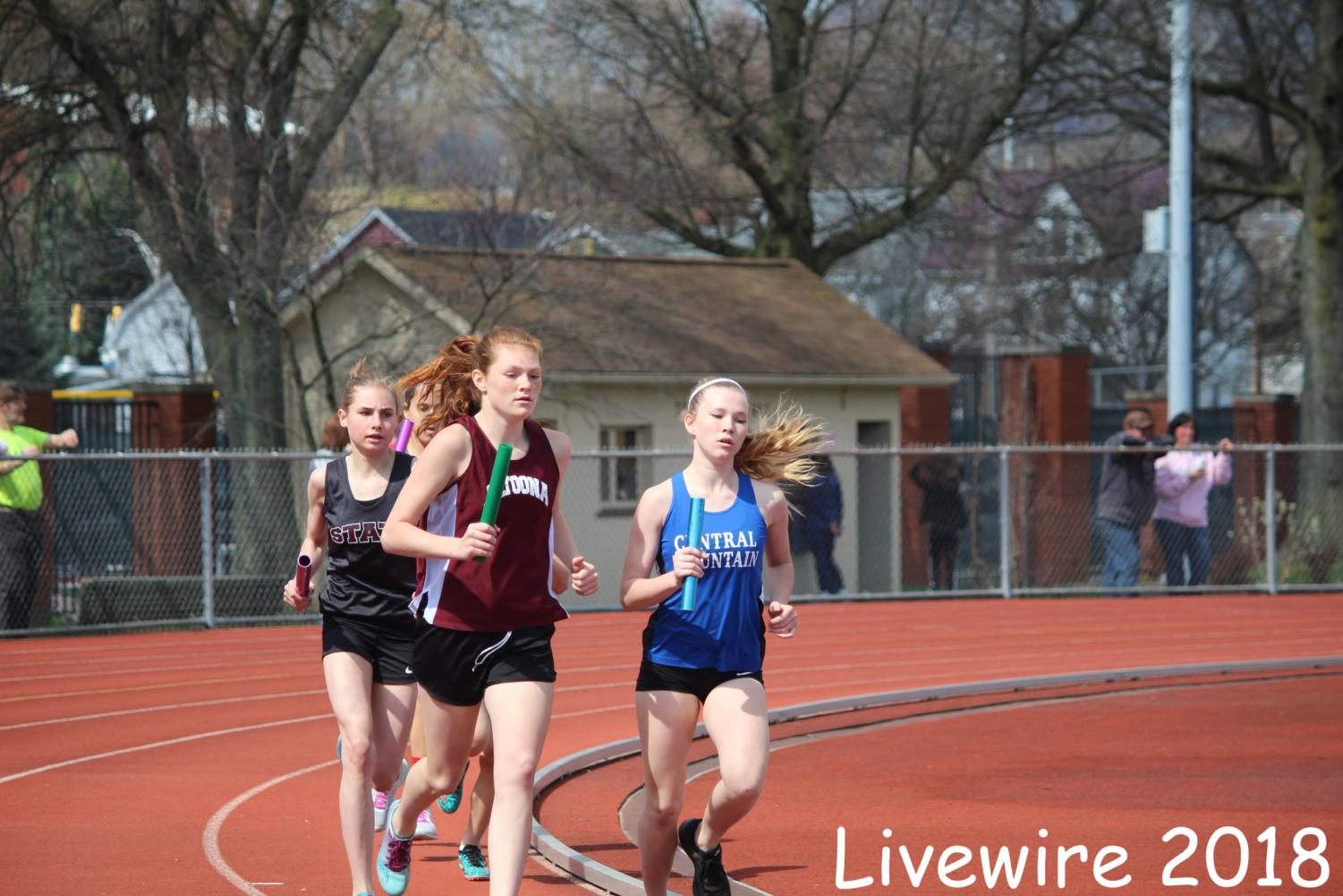 Run! Abbie Herncane runs in the track meet on Saturday the twenty eighth. Hurcane also ran against girls and boys from the other schools