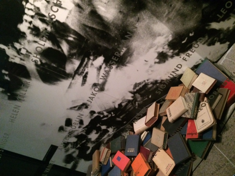 There is a display that shows all the books that were saved from the concentration camps. Many victims wrote in notebooks and read. Photo by Gianna Ciavarella