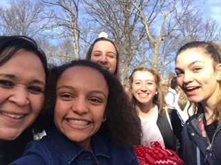 Selfie Time! Sarah Graham snaps a pick of (pictured left to right) Patricia Leonard, Sarah Graham, Darrian Berkheimer, Cassandra Kyle and Isabella Frank. The students took the picture after they had been gifted their awards.