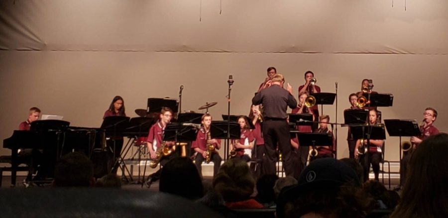 The jazz band plays very hard parts. Although their songs sounded hard, the concert was still went good.