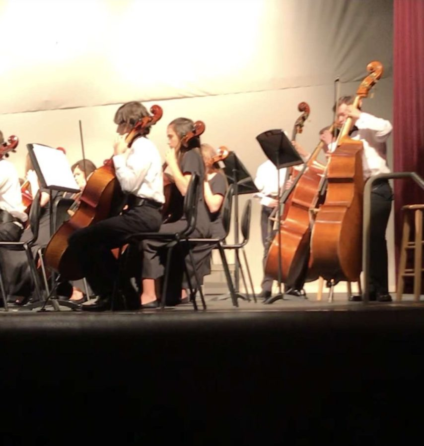 The cello and bass section both play their first song.  Put together these two sections always play very well.
