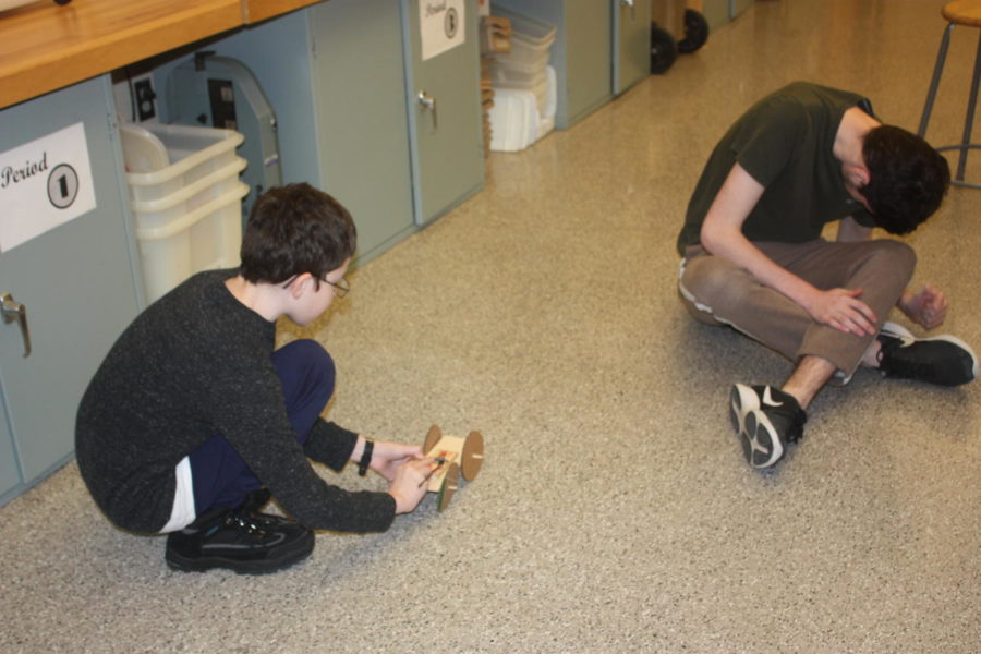 First test! Randy Fernandez tests out his mouse trap car invention.  They designed it from scratch with only the mouse trap.