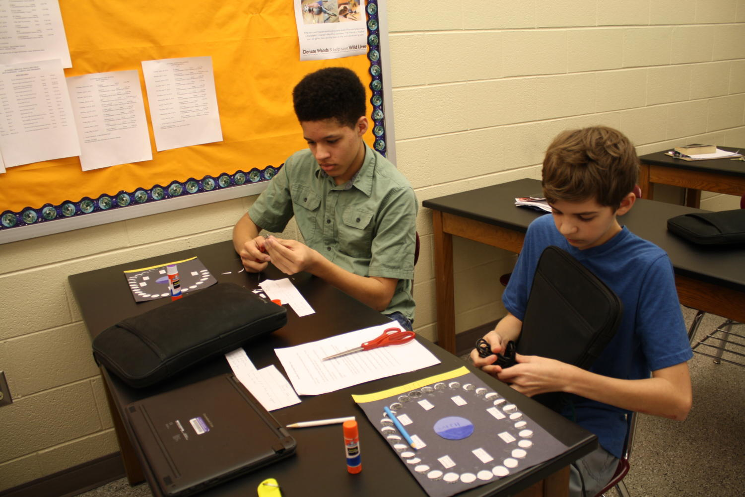 Try to remember it all!  Eighth graders Nicholas Ray and Logan Wilt are practicing and reviewing for the science PSSA's.  Since the beginning of the year, seventh and eighth grade have been preparing for the standardized tests.