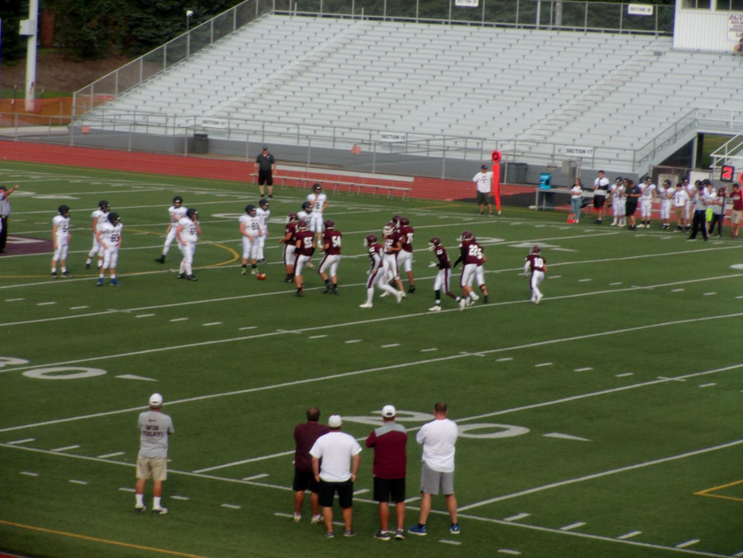 Getting Started  The maroon football team plays in a game.