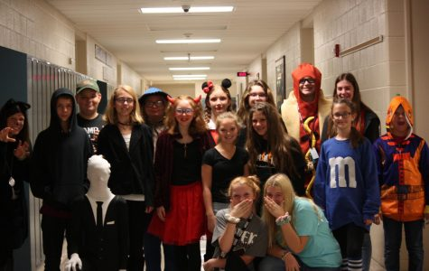 Happy Halloween! Lindsay Zerbee's class poses for a picture of everyone in their Halloween costumes. The class took a break to get a picture for the newspaper for the Livewire Halloween gallery.