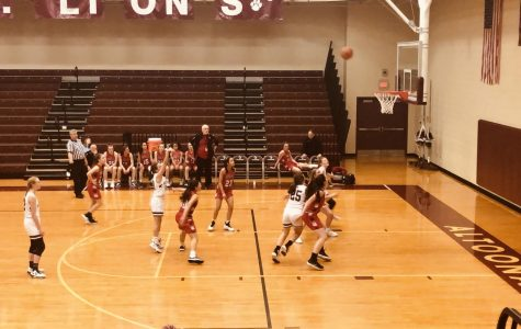Swoosh Ninth grade point guard Gracie Wilt takes a foul shot to raise their score against Cumberland Valley. The game against Cumberland Valley was a loss for the girls, but they played against them with full power until the end.