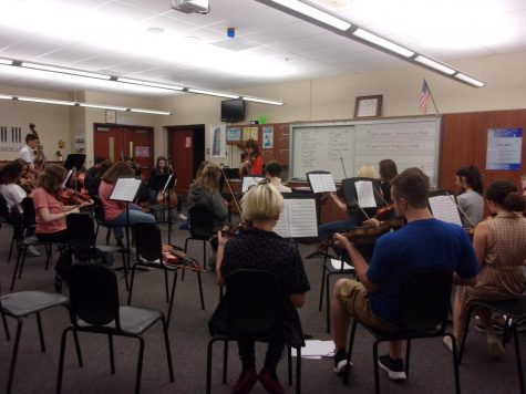 Time to play! The orchestra prepares to play in their upcoming concert. The eighth grade ninth grade symphonic orchestra played Rites of Tamburo and Meadowlands.