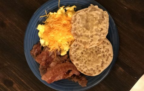 On April 27, I ate an English muffin, scrambled eggs with cheese and bacon slices for breakfast. This is a common breakfast I eat during my recovery journey.