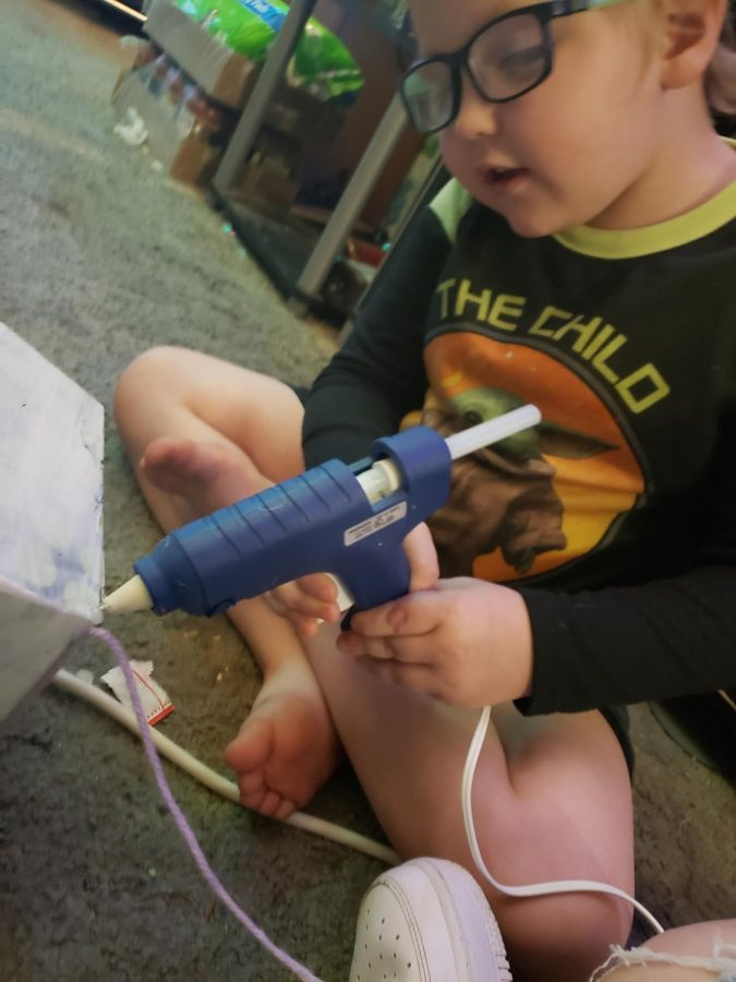 Josh wanted to help with the glue too;