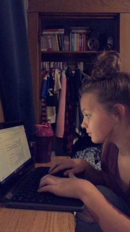 "Virtual Learning! Alecea Wisor is working on a school assignment from home. The school board recently approved virtual learning for K-12. ""I prefer face to face because it"
