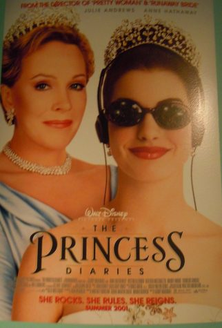 "A poster for the ""Princess Diaries"" shows the two main characters, actors Julie Andrews and Anne Hathaway. The film was produced by Walt Disney."
