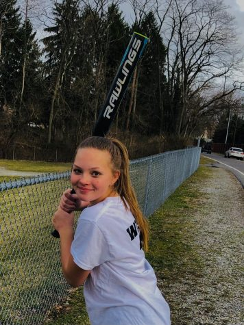 Play ball! Alecea Wisor practices her swing for her first softball game this season. The team was thrilled to hear that they have the opportunity to play ball this year.