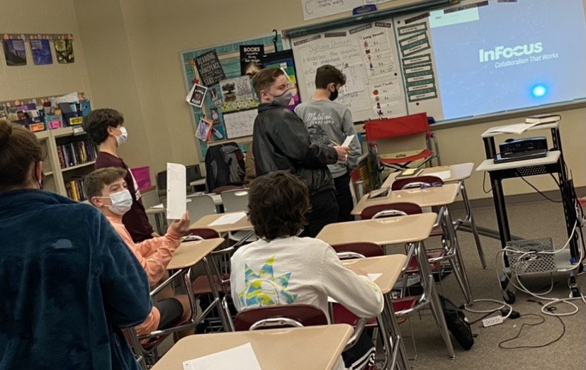 """Friendly competition! Students play the game, """"Categories, """" in Disabito's Fun Friday this week. They all work very hard to win those extra credit points!"""