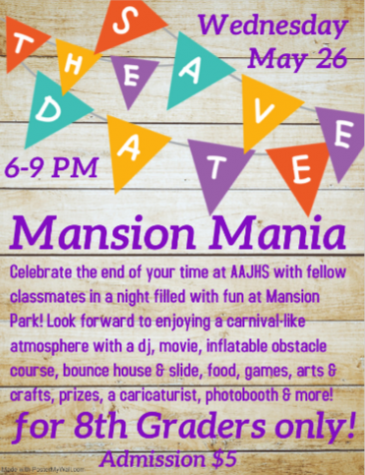 Party time! The virtual announcement for Mansion Mania features helpful information for students to prepare for the event.